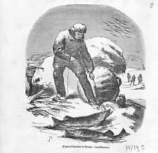 Dessin allégorique de Février pêche aux poissons sous la glace GRAVURE 1844