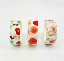 3 Rolls Floral Pattern Washi Tape 1.5cm x 5m For Craft, Decorations, Stationery