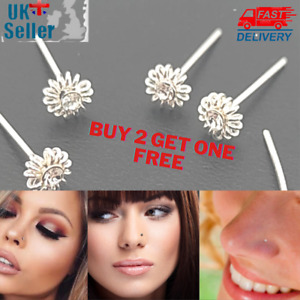 Sterling Silver Austrian Crystal Daisy One Stone Design Nose Studs Nose Wire 2mm