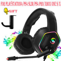 3.5mm Gaming Headset LED MIC Headphones for PC Laptop PS4 Slim Xbox One X S LOT