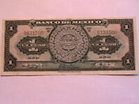 1943 Mexico Banco 1 Peso Choice aXF Original Paper Money Banknote Currency P28e
