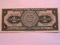 1943 Mexico Banco 1 Peso Choice aXF Original Paper Money Banknote Currency P28e