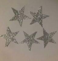 50 Hotfix iron-on transfers silver glitter moons