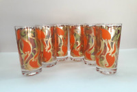 Vintage Georges Briard Set Of 6 Art Nouveau Orange & Green Pattern Glasses