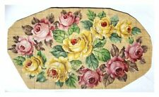ANTIQUE ORIGINAL BERLIN WOOLWORK HAND PAINTED CHART PATTERN LARGE ROSES OVAL