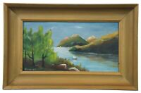 20th Century Oil Painting on Board by Barnhart Landscape River Boat Chesapeake