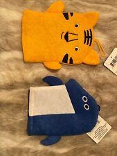 2 Bath Mitt Puppets For Baby Kids Lion -shark Wash Cloth Bath Time Toys