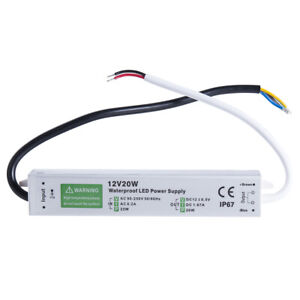 Waterproof LED Driver 20W 1.67A 12 v volt IP67 power supply transformer outdoor
