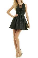 MSGM abito vestito dress nero in neoprene damascato con pizzo gonna a palloncino