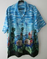 "Vintage VLVWATV Tropical/Surfboards Hawaiian Shirt 48""-122cm L (686H)"