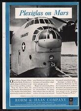 1943 WWII Navy MARTIN MARS Flying Boat Aircraft Plexiglass Rohm & Haas WW II AD
