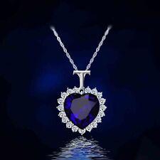 9k Real White Gold Filled Women's/Blue Diamond Heart Shape Necklace&Pendant.,.,