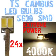 24x LED T5 5630 SMD 4000K White Dashboard Interior Car Moto lamp 12V Bright 1E9