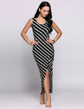 """BRIONY"" BEAUTIFUL LADIES SIZE 14 BLACK WHITE STRIPE FITTED STRETCH MAXI DRESS"