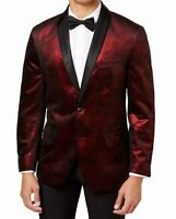 INC Mens Blazer Black Red Size Large L Shimmer Two-Button Seamed $129 #189