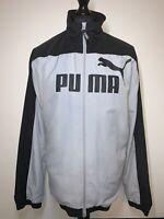 Puma Grey Black Lightweight Men's Retro Zip Coat Jacket Windbreaker Top L VGC