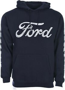 Ford Pullover Hoodie Men's Navy Sweatshirt Front Distressed Logo FRD9P3DIS9NVY