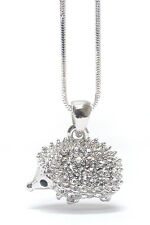 NEW CRYSTAL HEDGEHOG 3D PENDANT NECKLACE WHITE GOLD PLATED