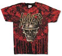 Slayer Winged Skull Blood Splatter All Over Print Black Shirt New Official Adult