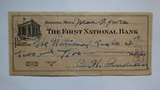 $2 1932 Hibbing Minnesota MN Cancelled Check! First National Bank