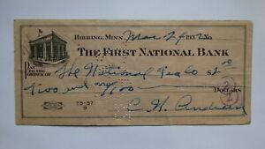 $2 1932 Hibbing Minnesota MN Cancelled Check! First National Bank