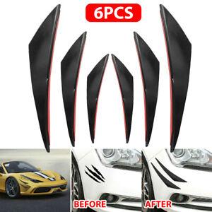 6pcs Gloss Black Car Auto Front Bumper Body Fins Spoiler Canards Refit Accessory