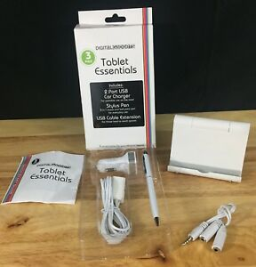 Digital Gadgets Tablet Essentials - Stand, Car Charger, Stylus, USB Extension