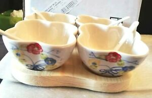 REDUCED 9 PIECE CERAMIC DIP SET (BOWLS AND SPOONS) /DIPS AND SALADS,ETC.