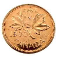 1963 Canada One 1 Cent Copper Penny Uncirculated Coin Fresh From Roll A252