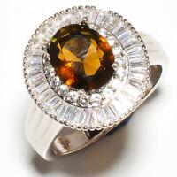 Smokey Quartz, White Topaz 925 Sterling Silver Jewelry Ring s.8.5 R618-17-5