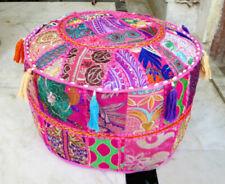 "14X18"" Khambadiya Patchwork Vintage Cotton Indian Pink Ottoman Pouf Stool Cover"