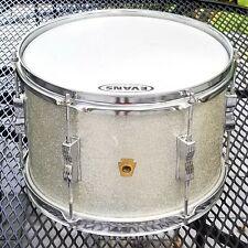 """Ludwig Keystone - 1960s 8"""" x 12"""" Rack Tom Drum w/ Original Silver Sparkle Wrap"""