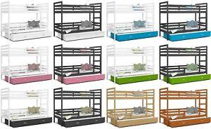 ETAGENBETT JACK Bett für 3 Personen mit Matratze mit Schubladen 2 Größen MDF