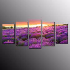 Home Decor Lavender Purple Flower Canvas Prints Painting Picture Wall Art 5pcs