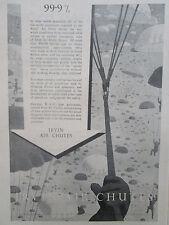 12/1945 PUB IRVIN AIR CHUTE IRVIN RAF PARACHUTE CANOPIES HARNESS ORIGINAL AD
