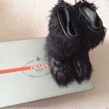 New PRADA Marmotta Yeti boots, black faux fur, UK 2.5/35.5, in box plus bootbag