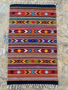 "Zapotec Oaxacan 23x39"" Hand Woven Multicolor Geometric Pattern Wool Tapestry Rug"