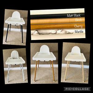 IKEA Antilop high chair Leg Wraps, Stickers, Vinyl wood, marble, matt black