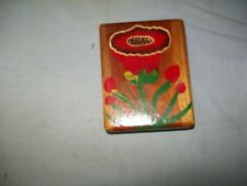 Vintage Hand painted wooden box with flower design 5 X 4 X 2 1/4