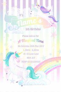 Unicorn Rainbow Party Invitations and Envelopes x 10