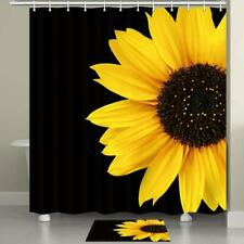Sunflower Black and Yellow Art Fabric Shower Curtain Bathroom Waterproof 71*71""