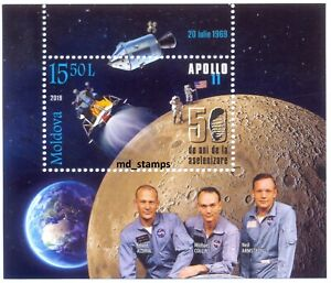 Moldova 2019 block with stamp 50 years since the Moon shot Apollo 11 MNH