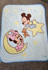"Mickey Minnie Mouse Baby Blanket Blue Moon Stars Bear Disney Plush Throw 36x50"""