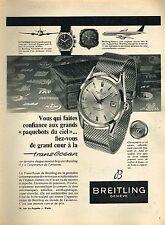 J- Publicité Advertising 1958 La Montre Breitling Genève transocean