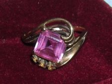 Beautiful Antique 10K Yellow Gold Estate Ring ~ Square Cut Pink Stone ~ size 7