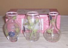 ~~ 3 BLOCK BUD VASES ~~ MINIATURE VINTAGE ROSE BUD VASES WITH ORIGINAL BOX