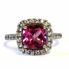 14k white gold created pink tourmaline cz halo ring estate ladies womens 3.1g