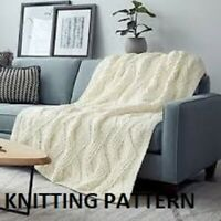 (125) Blanket Throw Copy Knitting Pattern, Gorgeous Design in Super Chunky yarn