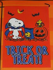 "Peanuts Snoopy & Woodstock Trick Or Treat Halloween Garden Flag 12""X18""-NIP"
