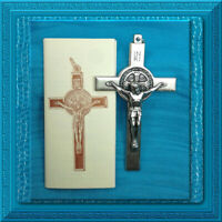"Crucifix CROSS X LARGE 3"" Saint Benedict Pendant & Booklet Inscriptions & Boxed"